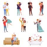 年轻人和妇女字符拥抱,跳舞和亲吻集合,愉快的浪漫爱恋的夫妇动画片传染媒介 免版税库存图片