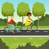 年轻人和妇女骑马在公园,平的传染媒介例证骑自行车 库存图片