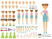 年轻人微笑女孩便装样式 吉祥人用不同的身体局部的创作成套工具 传染媒介动画片建设者 库存例证