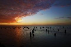 年轻人海湾日落和Pillings处于低潮中 免版税库存图片