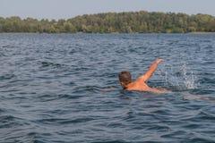 年轻人游泳在湖 免版税库存图片