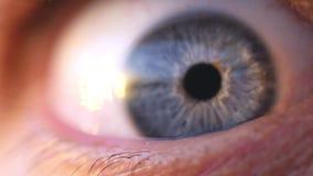 年轻人的一双蓝眼睛的极端宏观开头慢动作的 1920x1080 股票录像