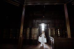 年轻人相当逗人喜爱的女孩室内夏天画象  摆在木内阁,伤痕老塑象里面的童话门旁边的美丽的妇女 库存照片
