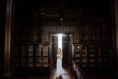 年轻人相当逗人喜爱的女孩室内夏天画象  摆在木内阁,伤痕老塑象里面的童话门旁边的美丽的妇女 免版税图库摄影