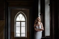 年轻人相当逗人喜爱的女孩室内夏天画象  摆在木内阁,伤痕老加州里面的童话窗口旁边的美丽的妇女 免版税库存图片