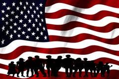 年轻人综合化变化被隔绝的美国旗子多文化小组 免版税库存照片