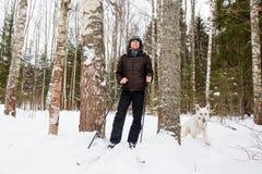年轻人速度滑雪在有白色狗的森林里 免版税图库摄影