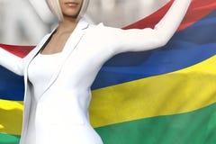 年轻企业夫人在手上拿着毛里求斯旗子在她的在办公楼背景的后面后-旗子概念3d例证 库存例证