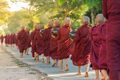年轻佛教新手走收集施舍和奉献物在Bagan街道,缅甸上 免版税库存照片