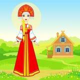 年轻俄国女孩的动画画象传统衣裳的 童话字符 免版税库存照片