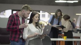 年轻俏丽的妇女和有胡子的人谈论项目身分在办公室与netbook在手上 他们的女性 股票录像