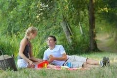 年轻加上在公园的野餐篮子 库存照片
