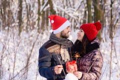 年轻加上bengals和礼物在冬天互相微笑 免版税库存照片