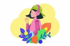 年轻十几岁的女孩饮用的汁液和听的音乐-在平的动画片样式的例证 向量例证