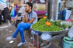 年轻卖主卖绿色李子Vakil义卖市场,设拉子,伊朗 免版税库存照片