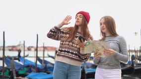 年轻可爱的妇女说在停留在江边的电话里 股票录像