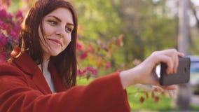 年轻可爱的红发妇女在樱桃或佐仓开花春天花背景做一selfie在智能手机在 股票录像