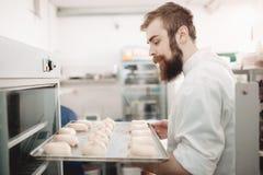 年轻吸引人面包师在烤箱投入有小圆面包的一个烘烤的盘子在面包店 库存照片