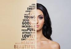 年轻和健康妇女的美丽的面孔 整容手术、护肤、化妆用品和整形概念 免版税库存照片