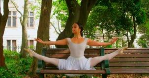 年轻在长凳的芭蕾舞女演员实践的舞蹈在公园4k 股票视频