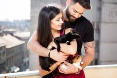 年轻夫妇在手上的拿着猫在大阳台 库存照片