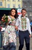 年轻夫妇在Vyshyvanka 免版税库存照片