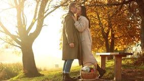 年轻夫妇户外,拿着与秋天收获的装饰篮子,采摘从树的花楸浆果 股票录像
