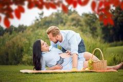 年轻夫妇有野餐在城市公园,妇女期待一个婴孩 库存图片