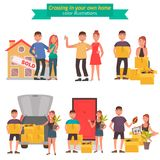 年轻夫妇移动向一个新房颜色平的例证集合 向量例证