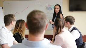 年轻女人商业领袖经理教练给活动挂图介绍解释不同的雇员小组的图表在 股票录像