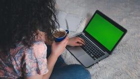 年轻女人在家使用一台膝上型计算机 有绿色屏幕的膝上型计算机 免版税图库摄影