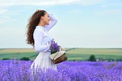 年轻女人是在淡紫色花田,美好的夏天风景 免版税库存照片