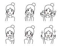 年轻女人清洗面孔 皇族释放例证