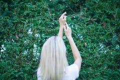 年轻女人胳膊被举由天空决定,庆祝自由 感觉生活悟性成功,心境的安宁的正面人的情感 库存图片