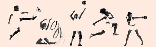 年轻女性女运动员,创造性的拼贴画 库存图片