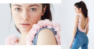 年轻女性模型佩带的牛仔裤和花卉顶面摆在 免版税库存图片