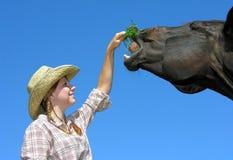 年轻女牛仔哺养的马 库存照片