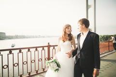 年轻婚礼夫妇,有新郎画象的在桥梁,室外夏天的自然美丽的新娘 免版税库存照片
