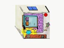 年轻嬉戏的孩子一间被幻想的屋子  免版税库存图片