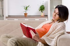 年轻孕妇在家 免版税库存图片