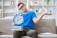 年轻学生为在家学习在沙发的检查做准备 免版税库存图片