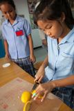 年轻学生在有他们的老师的厨房里采取一门基础课 v 免版税库存图片