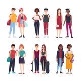 年轻少年夫妇的汇集在时髦衣裳穿戴了 套对时髦的青少年的男孩和女孩 现代 向量例证