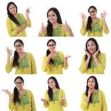 年轻快乐的印地安妇女拼贴画有各种各样的表示的在白色背景 免版税库存照片
