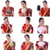 年轻快乐的印地安妇女拼贴画有各种各样的表示的在白色 库存照片