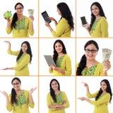 年轻快乐的印地安妇女拼贴画有各种各样的表示的在白色 免版税库存照片