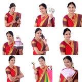 年轻快乐的印地安妇女拼贴画有各种各样的表示的在白色 免版税图库摄影