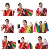 年轻快乐的印地安妇女拼贴画有各种各样的表示的在白色 图库摄影