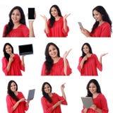 年轻快乐的印地安妇女拼贴画有各种各样的表示的在白色 免版税库存图片