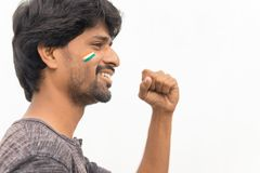 年轻快乐的印度男性板球迷画象被隔绝的背景的 免版税图库摄影
